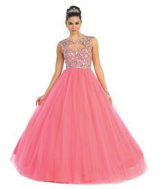 Long Sequins Quinceanera Open Back Ball Gown Dress