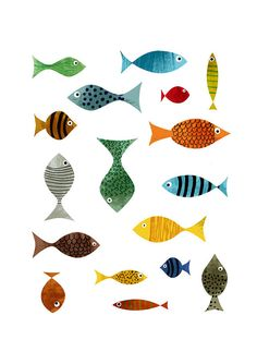 My friends print by blancucha on Etsy, $30.00....love the looks on the fishes faces!