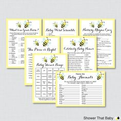 Bumble Bee Baby Shower Games Package in Yellow - Seven Printable Games: Bingo, Price is Right, Purse Game, Nursery Rhyme + More - 0021