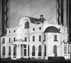Villa Les Treillages pour Jeanne Paquin (1912-1914) Saint-Cloud 92210. Vue de la maquette du 2e projet du côté de la façade principale. Architecte : Louis Süe.