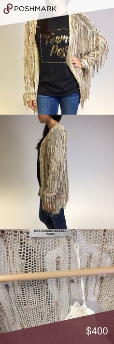 Mes Demoiselles Paris Fringe Cardigan Size Euro 2. Fringes are leather. Slouchy fit and open knit Mes Demoiselles Sweaters Cardigans