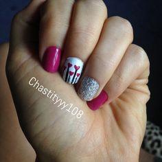 Pink hearts glitter nails