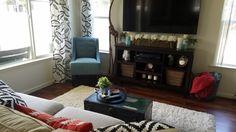 My living room - beige, black, white, blue, brick red all together