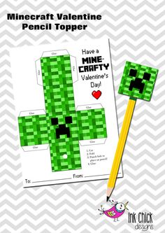 Minecraft/Creeper Valentine Pencil Topper by InkChickDesigns, $4.00