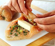 Boneless chicken rolls stuffed with mozzarella, garlic and basil. Need to make this!