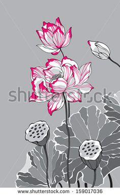 Pink lotus #flower #floral #lotus #vector #chinese