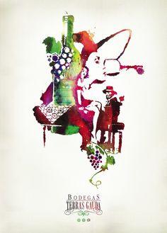 Bodegas Terras Gauda Wine & Music Event Ad poster by *Rammbolt on deviantART (Wine Bottle & glass Illustration)
