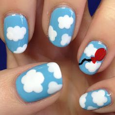 The Nail Trail: Day 34 - OPI What's With The Cattitude? with clouds and balloon nail art!