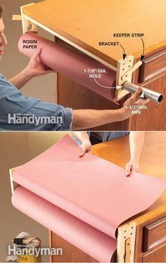 Rosin paper workbench cover http://www.familyhandyman.com/workshop/tips-for-a-tidy-workshop/view-all