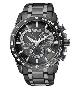 Citizen Watch, Men's Chronograph Eco-Drive Gray Ion Plated Stainless Steel Bracelet 43mm AT4007-54E - Citizen - Jewelry & Watches - Macy's