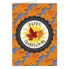 Happy Thanksgiving Fall Oak Leaf Card - thanksgiving greeting cards family happy thanksgiving