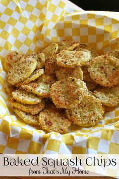 Baked Squash Chips are lightly breaded summer squash flavored with parmesan cheese and herbs.