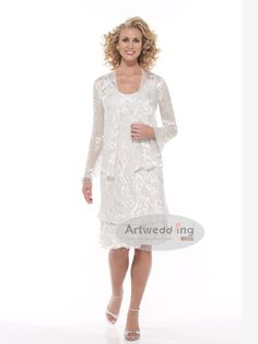 Tiered Knee Length Round Neckline Sheath Mother Of The Bride Dress With Jacket Groom