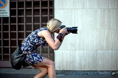 Silvia Olsen working in front of the Prada Show at Milan Fashion Week in September 2012.