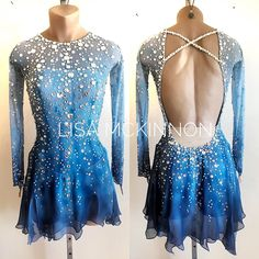 """""""Water"""" ~ Custom Lisa McKinnon for our beautiful Andrea Figure Skating Competition Dresses, Figure Skating Outfits, Figure Skating Costumes, Ice Dresses, Ice Skating Dresses, Ballroom Dance Dresses, Roller Derby, Costume Dress, Dance Outfits"""