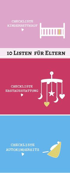 Ihr sucht nach praktischen Checklisten für Schwangere und junge Eltern? Dann schaut euch gerne um - denn wir haben 10 tolle Listen für Eltern zusammengestellt. Alle als pdf zum Ausdrucken, damit ihr gut gerüstet seid für das Leben mit Kind!