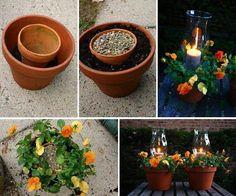 Photophore et pots de fleurs