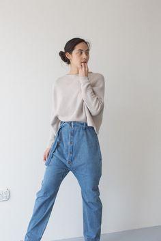 // 69 Button Up Denim Pants