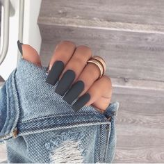 10 Nail Trends For Winter These nail trends for winter will have your nails looking totally on point! We've put together a list of some of our favorite nail trends! Perfect Nails, Gorgeous Nails, Pretty Nails, Best Acrylic Nails, Acrylic Nail Designs, Acrylic Nails Coffin Grey, Coffin Nails, Winter Acrylic Nails, Grey Nail Designs