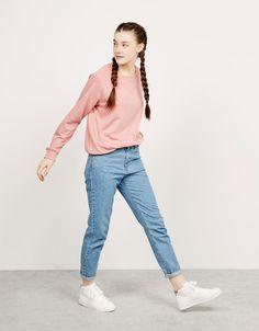 BSK text detail terry jumper - Sweatshirts - Bershka Qatar