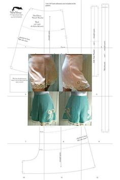 Also called knickers, bloomers, vintage underwear. Lingerie Patterns, Sewing Lingerie, Clothing Patterns, Shirt Patterns, Dress Patterns, Pants Pattern Free, Free Pattern, Free Sewing, Vintage Sewing Patterns
