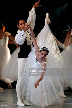 Ballet dancers Raul Fernandez and Sandra Barcenas of the national company of dance performs at the Esperanza Iris Teather on June 05, 2009 in Mexico City, Mexico.