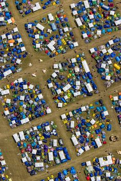 Aerial shots of tents at Roskilde Festival in Denmark.