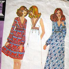 1970s Vintage Sewing Pattern  McCall's 3246  Boho by SelvedgeShop