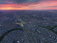 Picture of a panoramic aerial image of Sun City, Arizona created from 13 individual photographs, the photo shows the development of the area at sunset Sun City Arizona, Phoenix Arizona, Images Of Sun, Lakes In California, Aerial Images, Aerial Photography, Photography Courses, Photography Tips, Birds Eye View