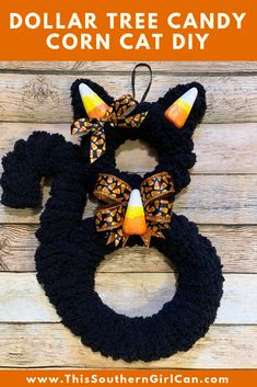 Make this cute candy corn cat Halloween decoration using a Dollar Tree cat from . Dollar Tree Halloween Decor, Dollar Store Halloween, Halloween Trees, Halloween Crafts For Kids, Dollar Tree Crafts, Halloween Projects, Diy Halloween Decorations, Halloween Cat, Holidays Halloween