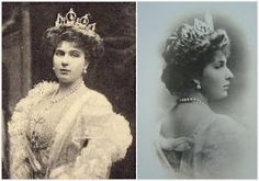The aquamarine tiara pictured on Queen Victoria Eugenia, a diadem from Spanish jewelers Ansorena which was a gift from her husband, King Alfonso XIII. Not only was the original form quite different from what it is today, it was originally set with drop pearls.