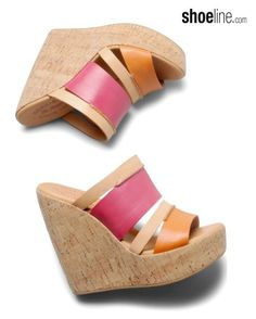 color block wedge on Shoeline.com #korkease #wedge #sandal