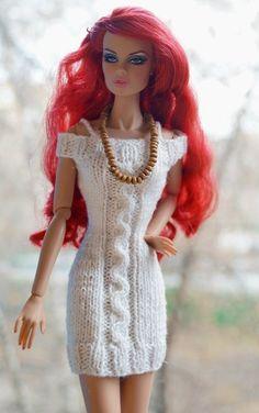 Barbie clothes Barbie Crochet Dress for Barbie Doll - vista Crochet Doll Dress, Crochet Barbie Clothes, Doll Clothes Barbie, Barbie Dress, Knitted Dolls, Barbie Doll, Barbie Knitting Patterns, Knitting Dolls Clothes, Barbie Clothes Patterns