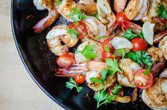 Quick and Easy Garlic Shrimp - Virginia Willis How To Peel Shrimp, How To Devein Shrimp, Tapas Dishes, Sustainable Seafood, Garlic Shrimp, Smoked Paprika, Cherry Tomatoes, Food Print, Kitchens