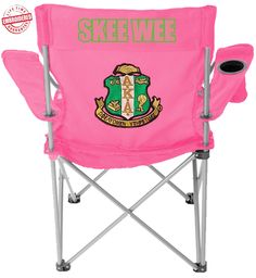 Alpha Kappa Alpha Skee-Wee Crest Lawn Chair, Pink - EMBROIDERED WITH LIFETIME GUARANTEE