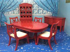 Captivating Beautiful Ideal Red Dining Room Set Vintage Dollhouse Furniture 1:16 Renwal  Marx | EBay