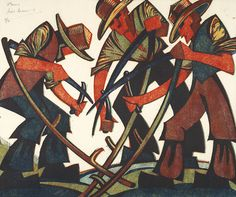 Sybil Andrews. The Mowers, linocut, 1937 | Three mowers planning to mow a meadow, each in the process of sharpening his scythe