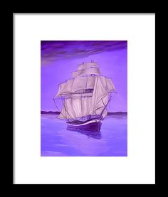 Framed Art Print,  nautical,marine,sailboat,ocean,scene,sea,water,calm,voyage,purple,lavender,decor,decorative,beautiful,image,fine,oil,painting,contemporary,scenic,modern,virtual,deviant,wall,art,awesome,cool,artistic,artwork,for,sale,home,office,decor,decoration,decorative,items,ideas