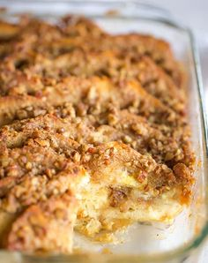 Baked French Toast Casserole with Praline Topping is wonderfully decadent, making it perfect for holidays or overnight guests! A wonderful Christmas Morning Tradition!