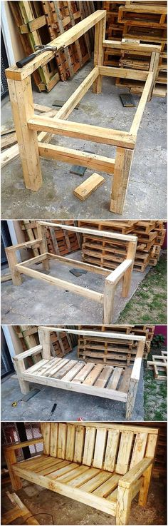DIY Recycled Wood Pallet Bench Plan: The separate chairs occupy much space and every single chair needs a specific amount of money to be invested for seating Diy Projects Plans, Woodworking Projects Diy, Diy Pallet Projects, Woodworking Bench, Furniture Projects, Diy Furniture, Project Ideas, Furniture Plans, Woodworking Workshop