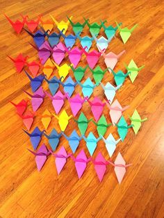 THE LARGE CRANES ARE OVER-SIZED and can hang with wings open -or- be used as table decorations Restaurant Origami Display, Sweet 16 Party, Large Origami, Over-sized Origami Cranes, Cherry Blossom Colors, Japanese Theme, Pink Red White, Origami Table Centerpieces CUSTOM ORDER - -