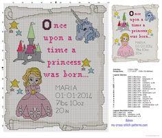 Birth record baby cross stitch pattern A princess was born (click to view)