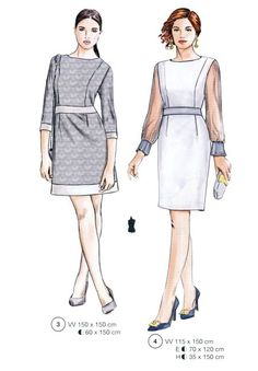Illustration Mode, Illustrations, Fashion Sketches, High Neck Dress, Vogue, Dresses For Work, Casual, Pattern, Fashion Design Drawings