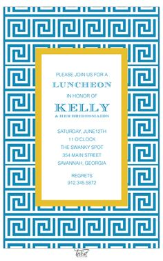 Greek Key Ocean Invitation
