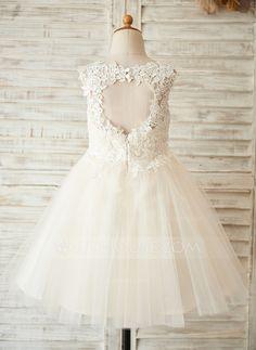 A-Line/Princess Scoop Neck Knee-length Lace Tulle Lace Sleeveless Flower Girl Dress Flower Girl Dress