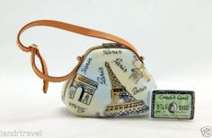 NEW FRENCH LIMOGES BOX PARIS MONUMENTS PURSE HAND BAG AMEX CARD& LEATHER HANDLE