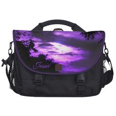 Purple Clouded Sunrise Laptop Bag *personalize*