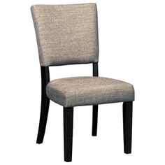 Dining Upholstered Side Chair with Textured Gray Fabric & Nailheads