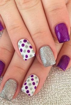 Gel Nail Designs You Should Try Out – Your Beautiful Nails Sparkle Nail Designs, Sparkle Nails, Short Nail Designs, Gel Nail Designs, Fancy Nails, Trendy Nails, Nails Design, Purple And Silver Nails, Purple Nail Art