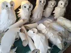 Making of paper owls for our woodland Christmas windows at Seasalt